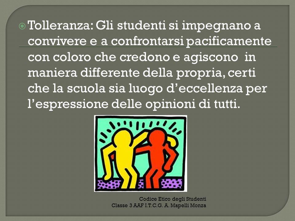 Tolleranza: Gli studenti si impegnano a convivere e a confrontarsi pacificamente con coloro che credono e agiscono in maniera differente della propria, certi che la scuola sia luogo d'eccellenza per l'espressione delle opinioni di tutti.