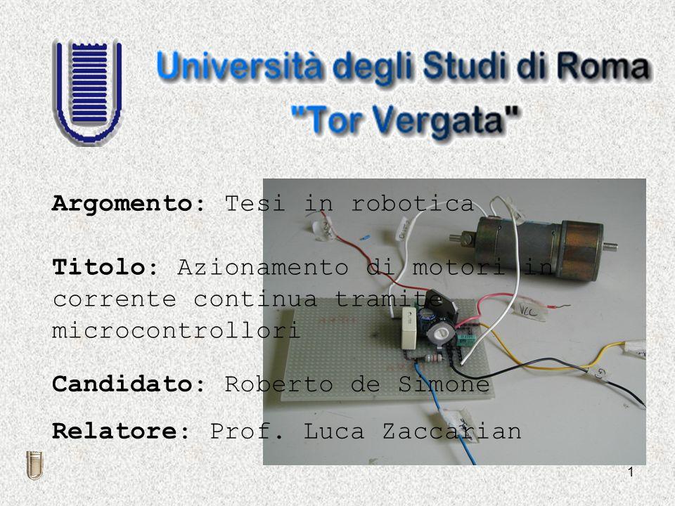 Argomento: Tesi in robotica