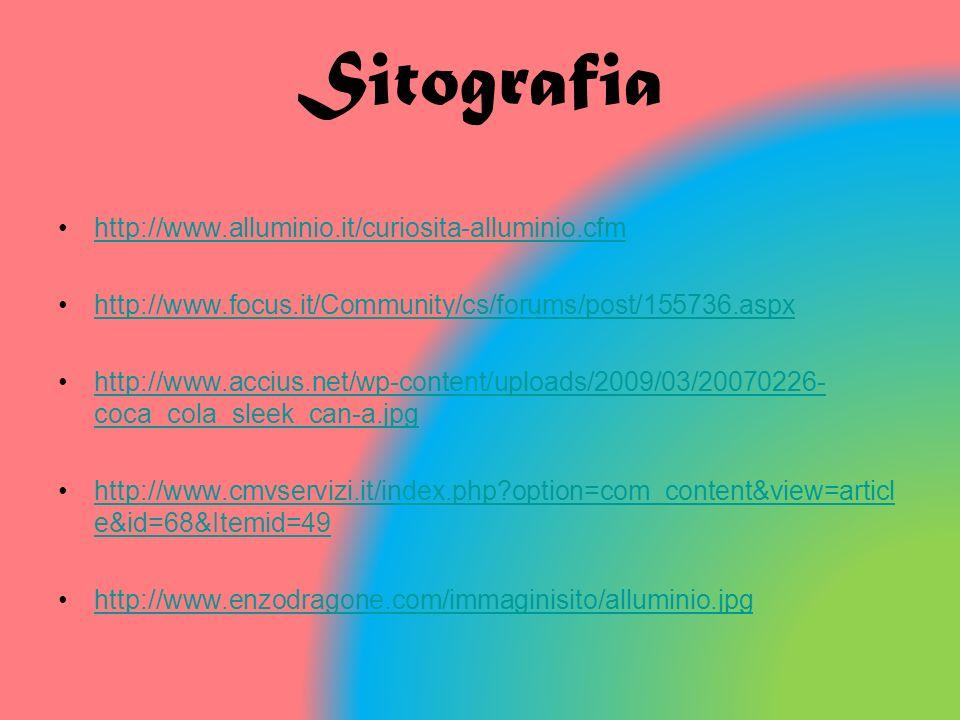 Sitografia http://www.alluminio.it/curiosita-alluminio.cfm