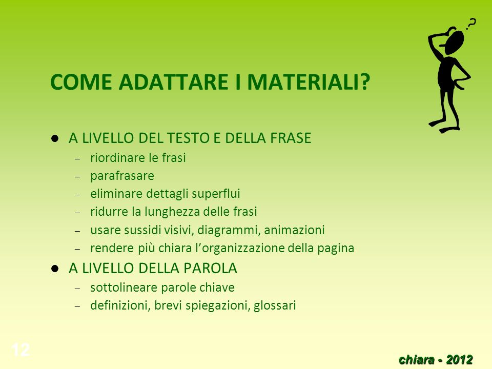 COME ADATTARE I MATERIALI
