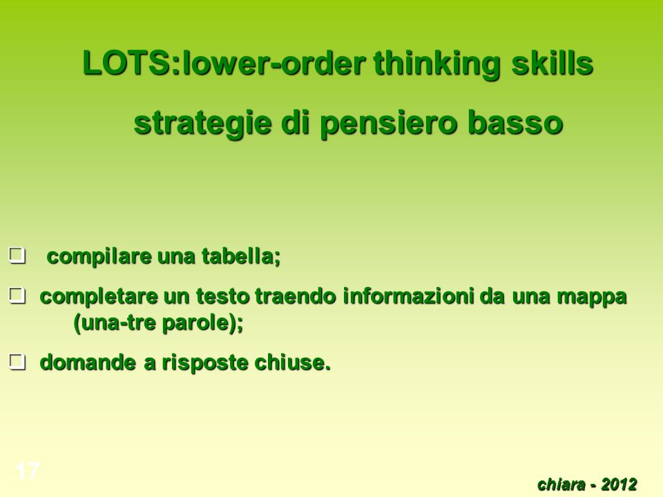 LOTS:lower-order thinking skills strategie di pensiero basso