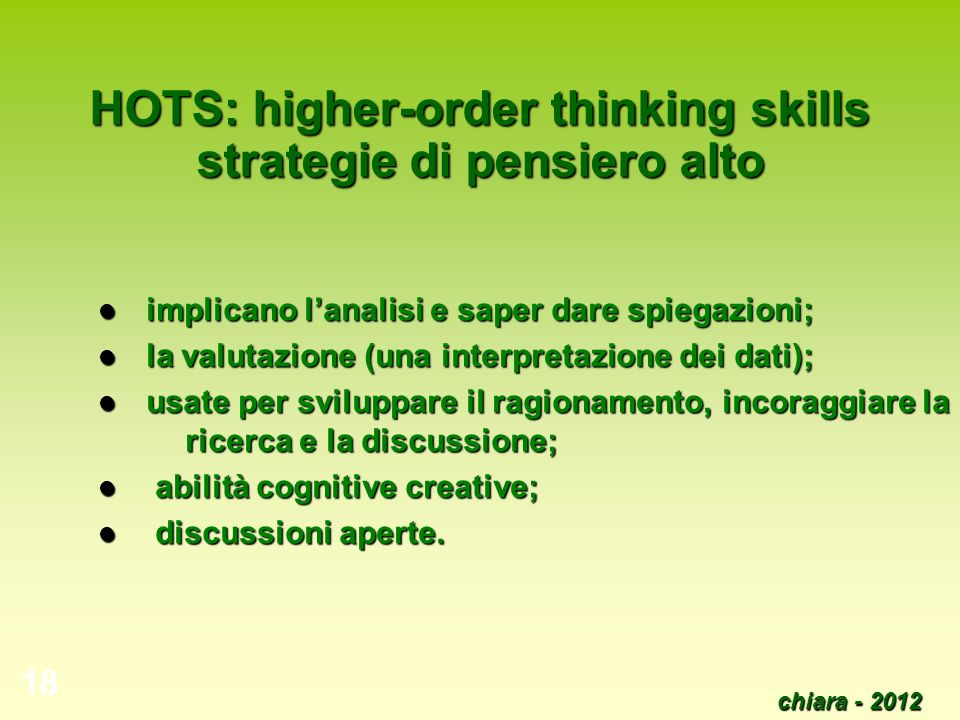 HOTS: higher-order thinking skills strategie di pensiero alto
