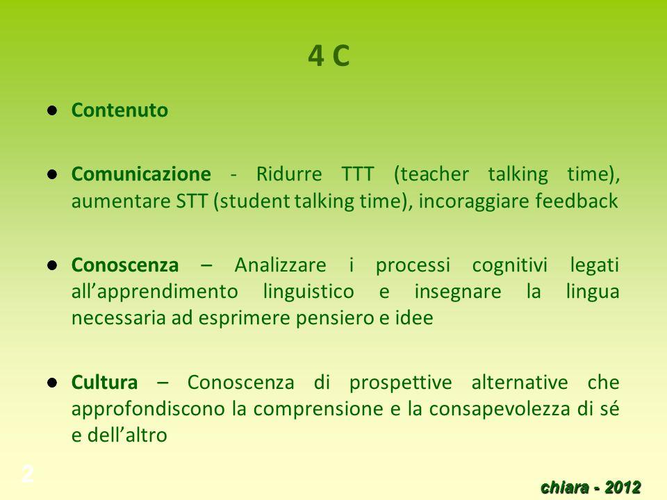 4 C Contenuto. Comunicazione - Ridurre TTT (teacher talking time), aumentare STT (student talking time), incoraggiare feedback.
