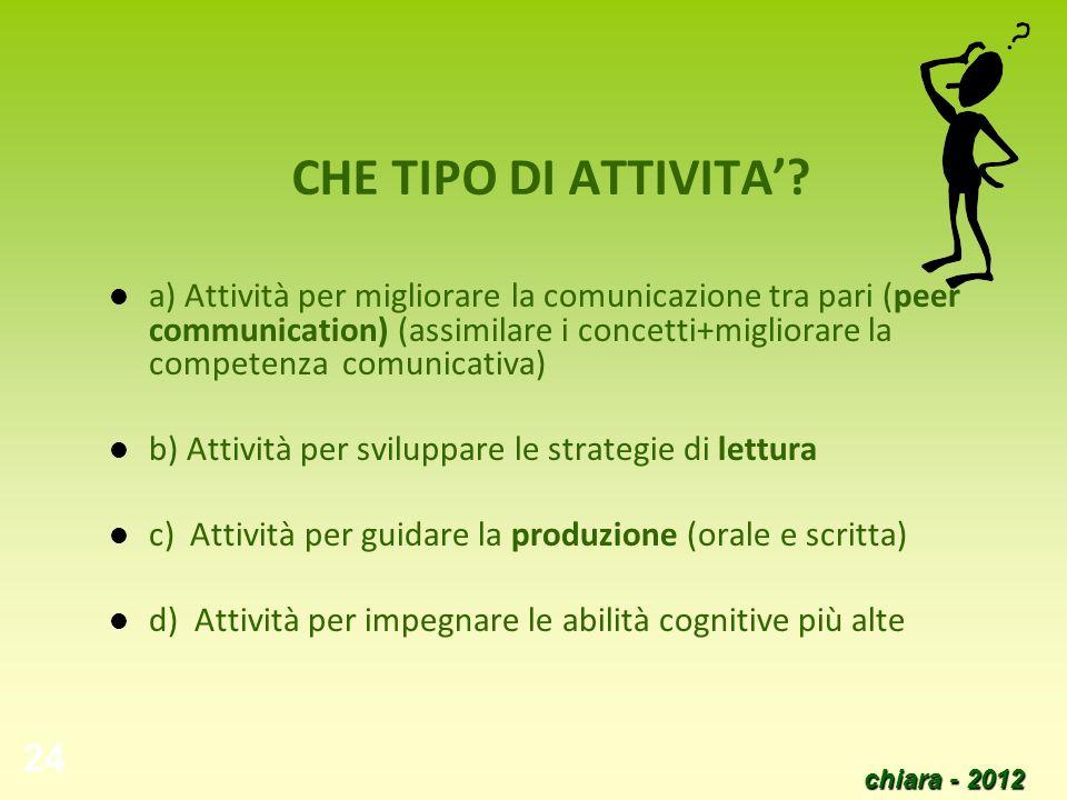 CHE TIPO DI ATTIVITA'