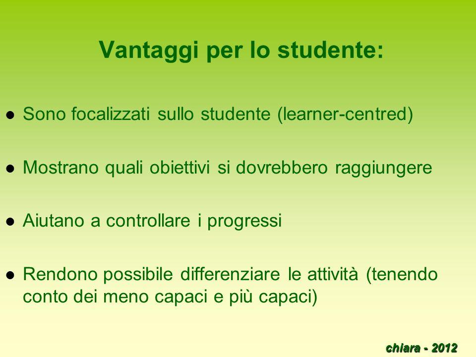 Vantaggi per lo studente: