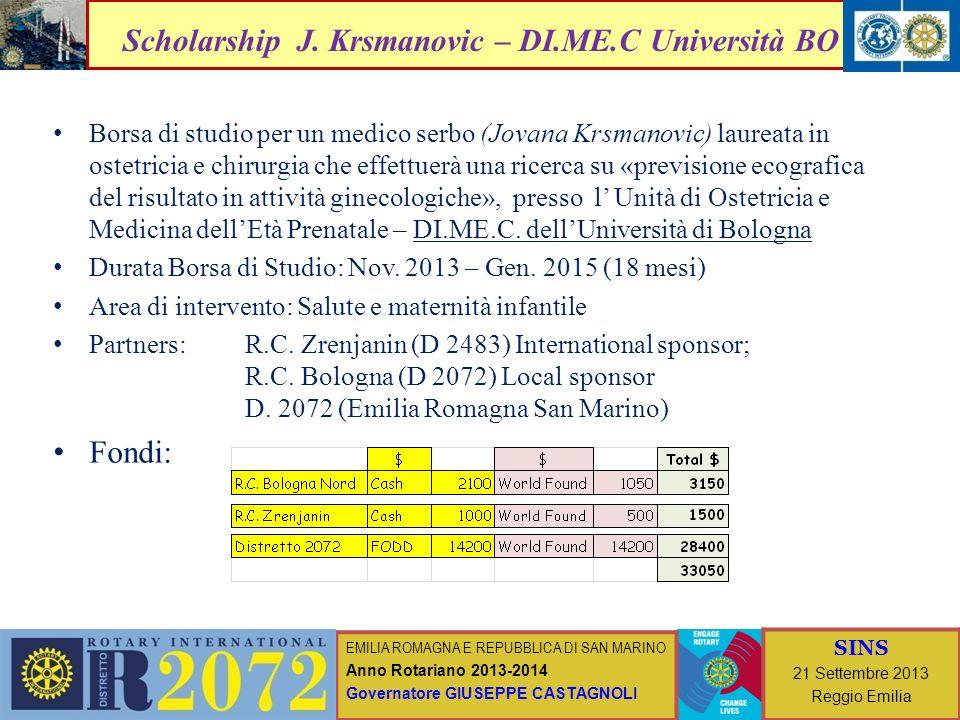 Scholarship J. Krsmanovic – DI.ME.C Università BO