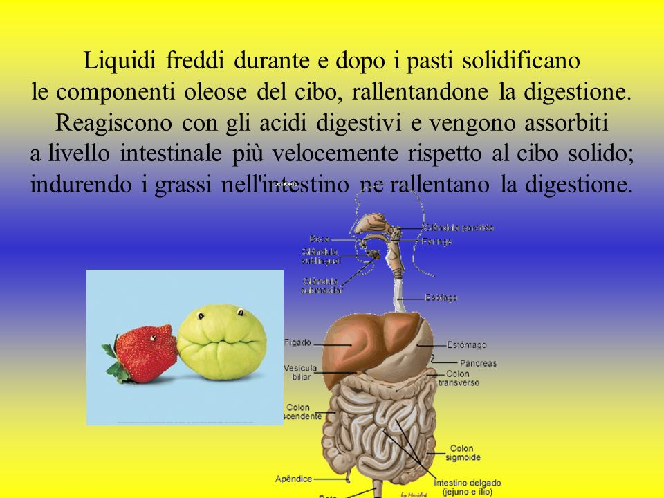Liquidi freddi durante e dopo i pasti solidificano