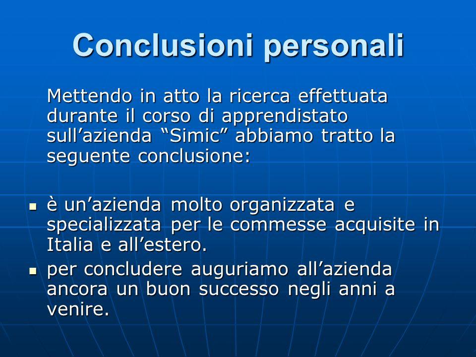 Conclusioni personali