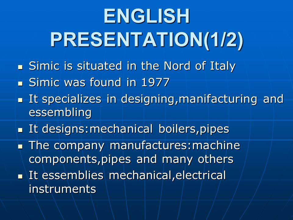 ENGLISH PRESENTATION(1/2)