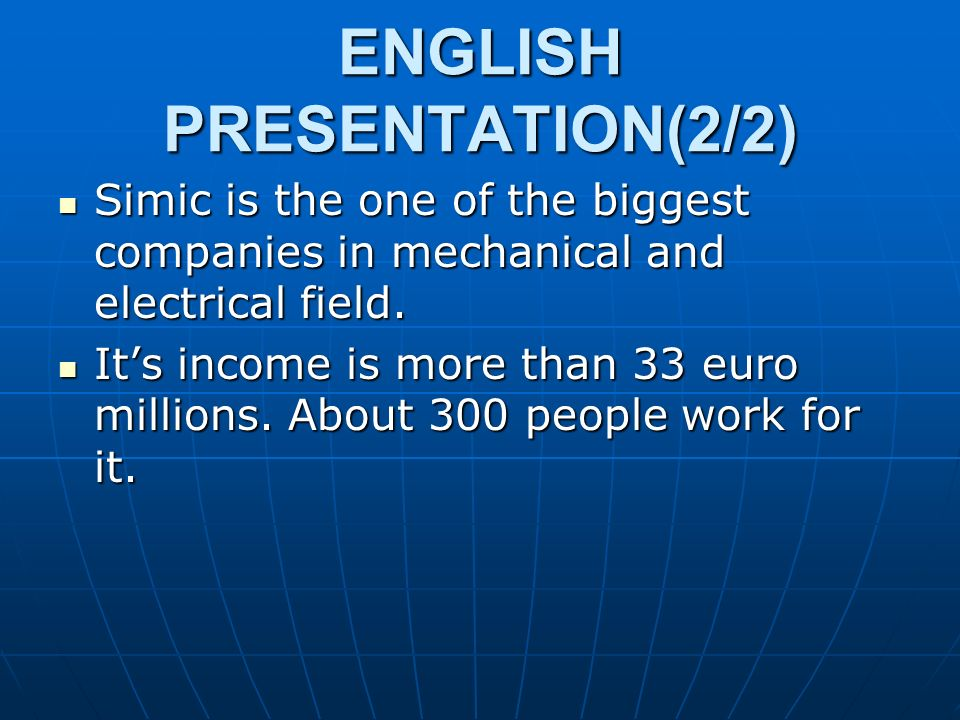ENGLISH PRESENTATION(2/2)