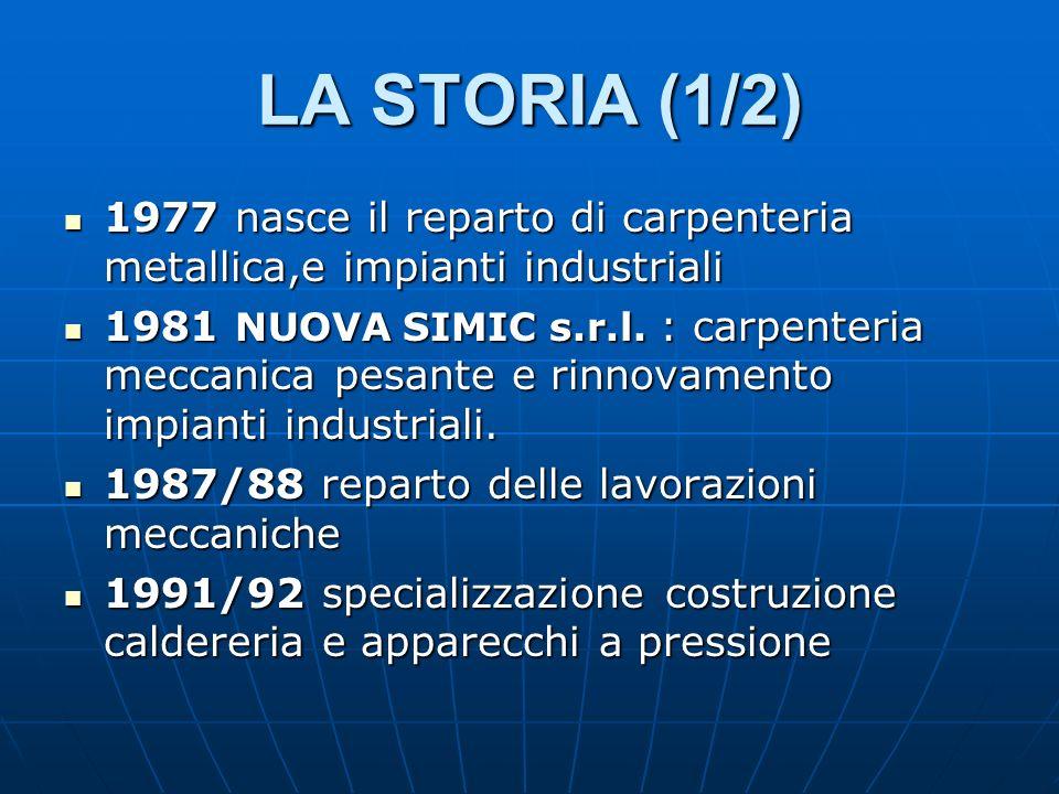 LA STORIA (1/2) 1977 nasce il reparto di carpenteria metallica,e impianti industriali.