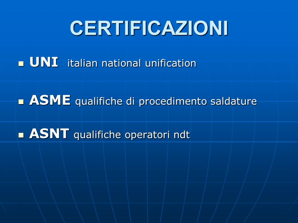 CERTIFICAZIONI UNI italian national unification
