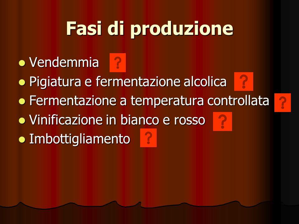 Fasi di produzione Vendemmia Pigiatura e fermentazione alcolica