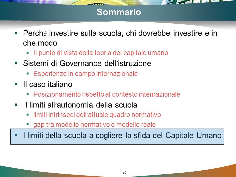 Sommario Perché investire sulla scuola, chi dovrebbe investire e in che modo. Il punto di vista della teoria del capitale umano.