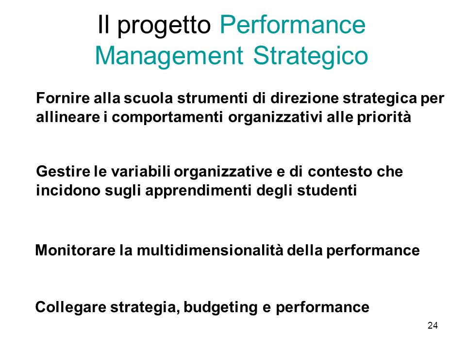 Il progetto Performance Management Strategico