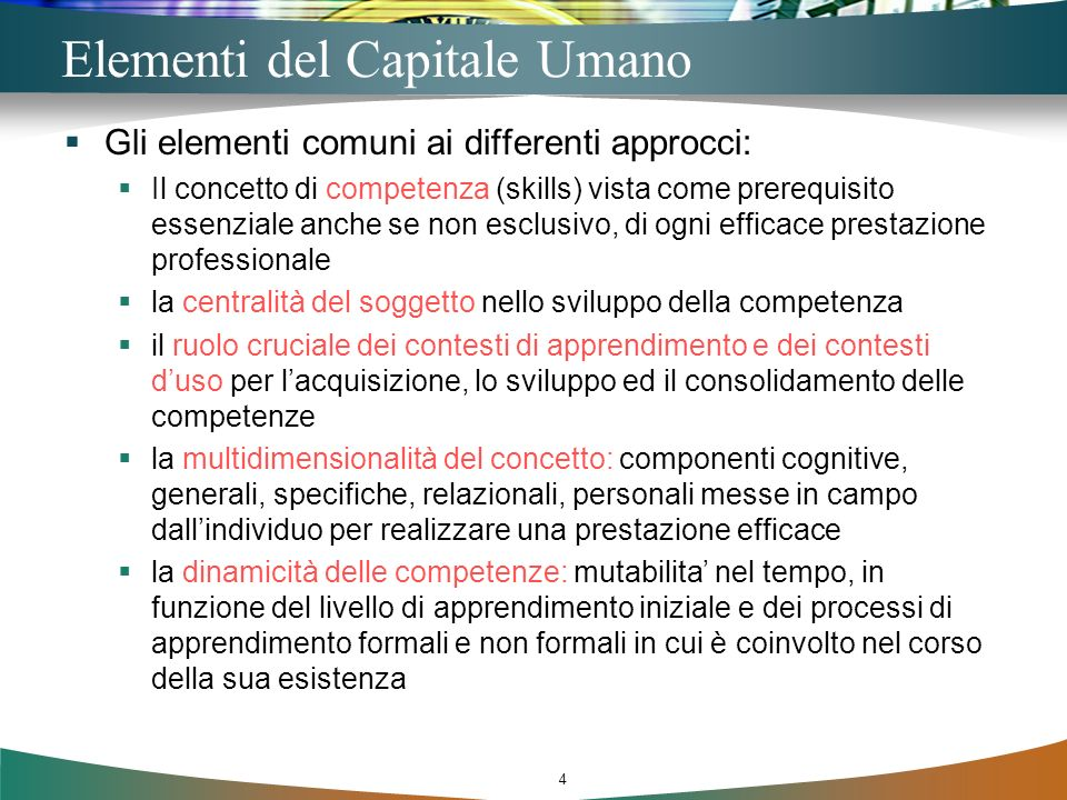 Elementi del Capitale Umano