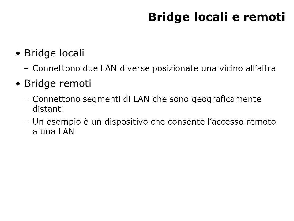 Bridge locali e remoti Bridge locali Bridge remoti