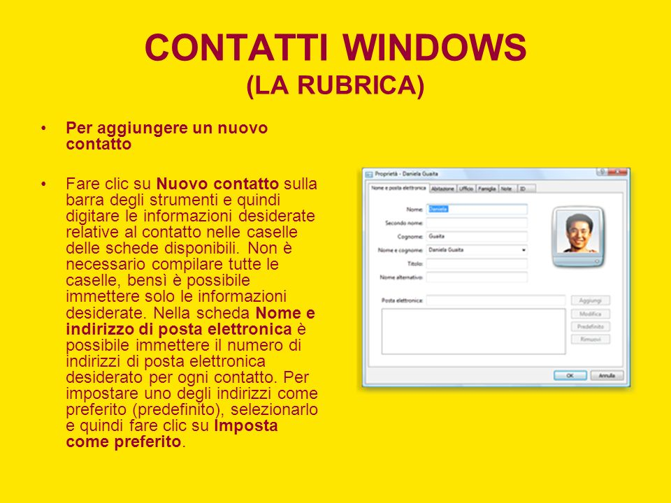 CONTATTI WINDOWS (LA RUBRICA)