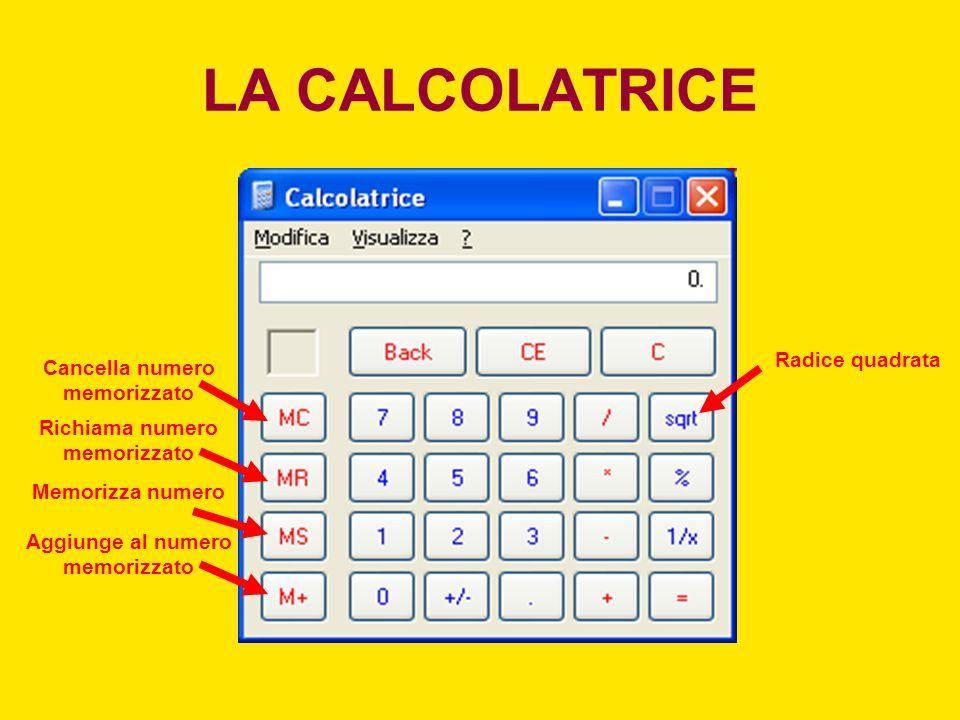 LA CALCOLATRICE Radice quadrata Cancella numero memorizzato
