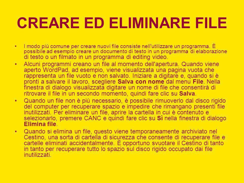CREARE ED ELIMINARE FILE