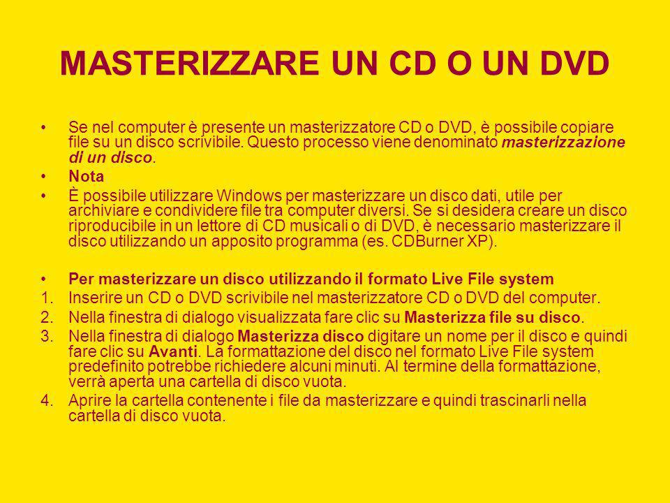 MASTERIZZARE UN CD O UN DVD