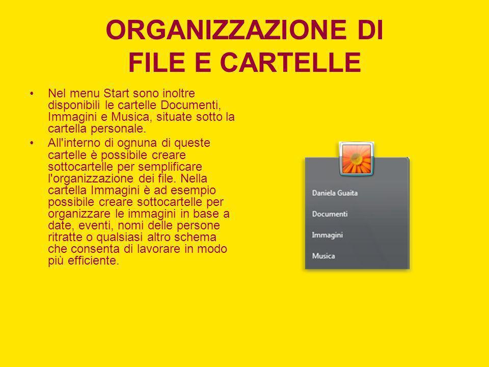 ORGANIZZAZIONE DI FILE E CARTELLE
