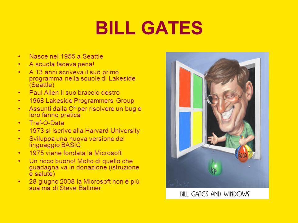 BILL GATES Nasce nel 1955 a Seattle A scuola faceva pena!