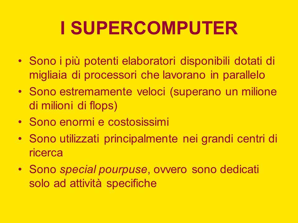 I SUPERCOMPUTER Sono i più potenti elaboratori disponibili dotati di migliaia di processori che lavorano in parallelo.