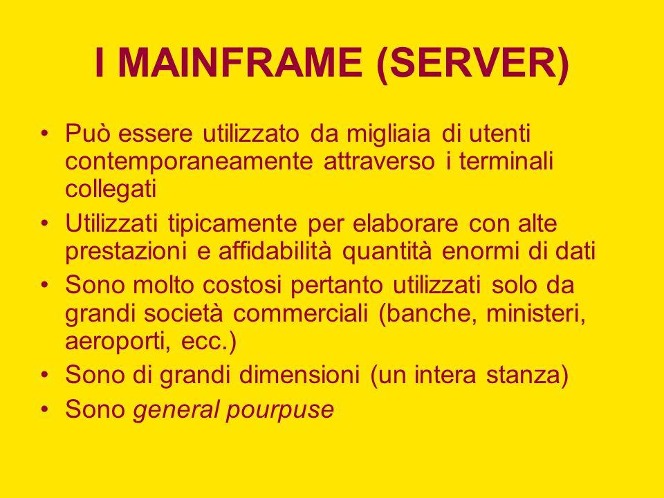 I MAINFRAME (SERVER) Può essere utilizzato da migliaia di utenti contemporaneamente attraverso i terminali collegati.