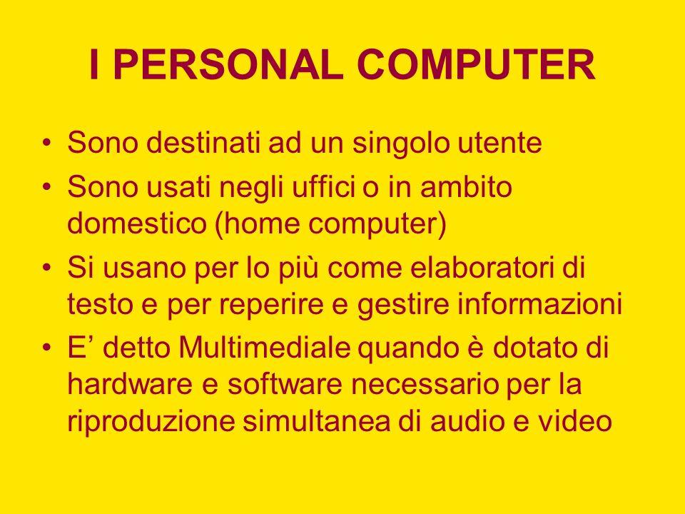I PERSONAL COMPUTER Sono destinati ad un singolo utente