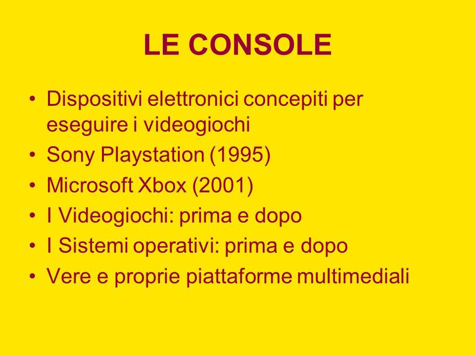 LE CONSOLE Dispositivi elettronici concepiti per eseguire i videogiochi. Sony Playstation (1995) Microsoft Xbox (2001)
