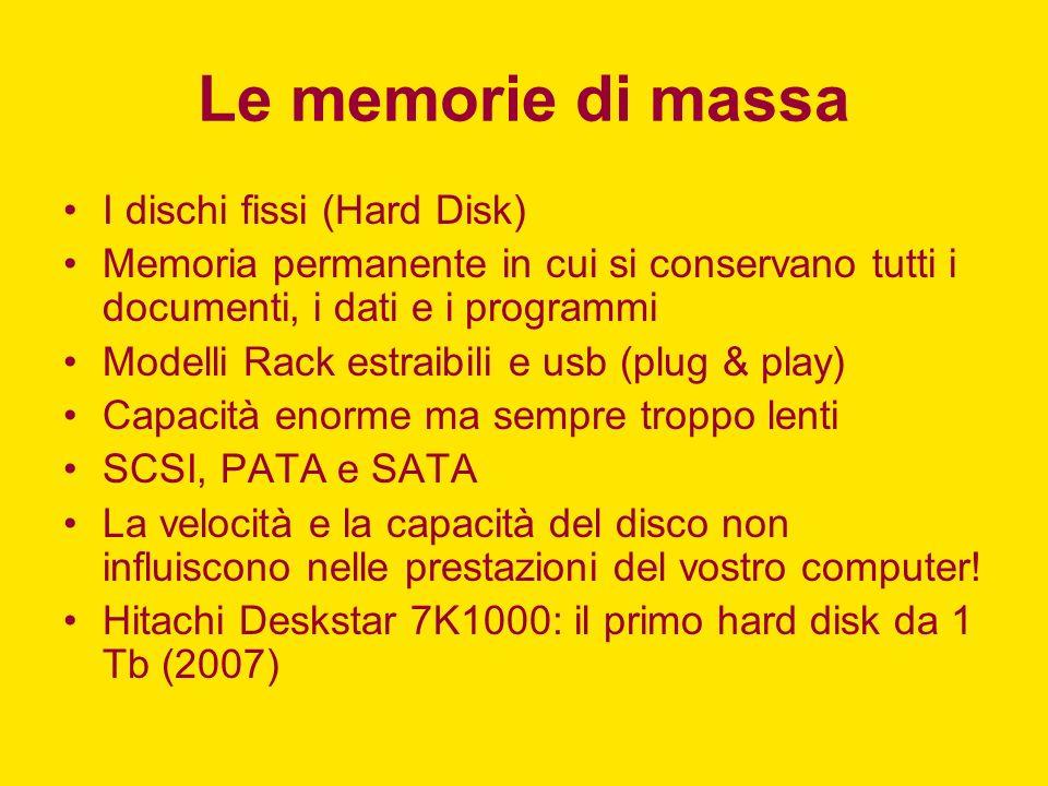 Le memorie di massa I dischi fissi (Hard Disk)
