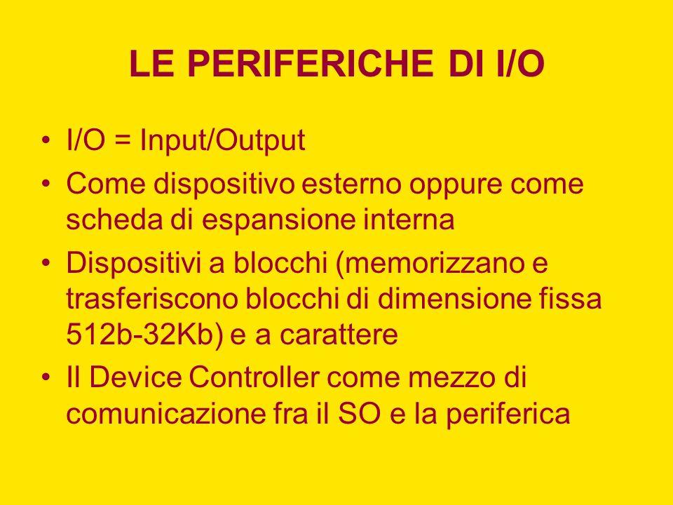 LE PERIFERICHE DI I/O I/O = Input/Output