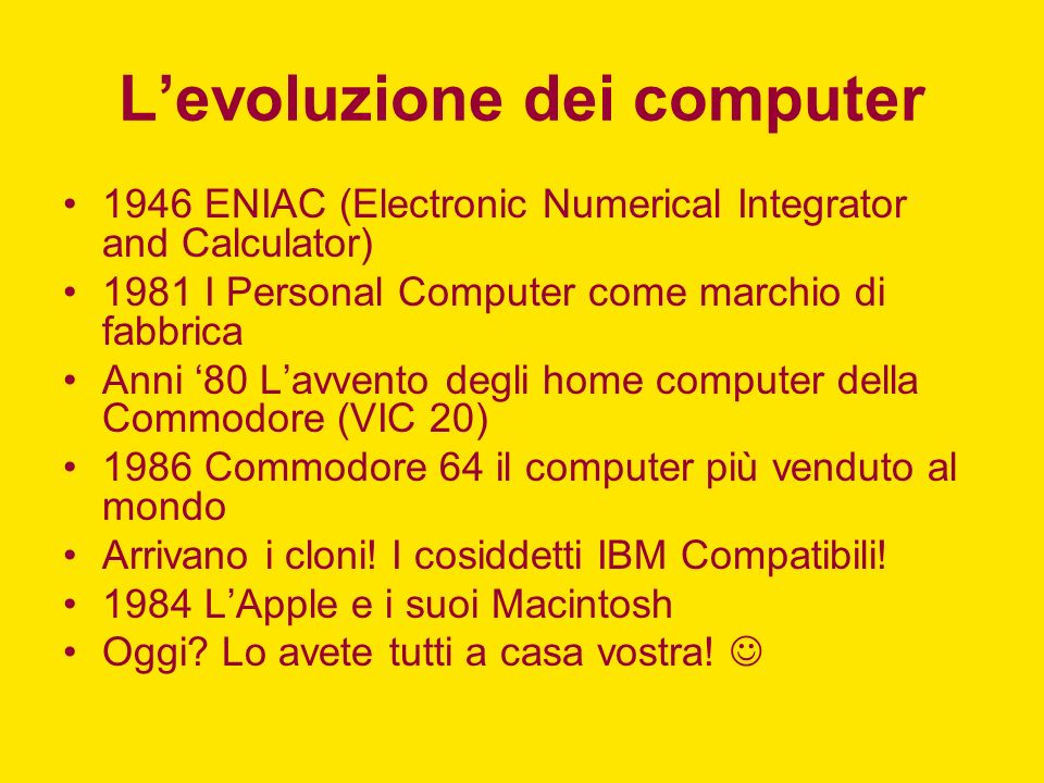 L'evoluzione dei computer