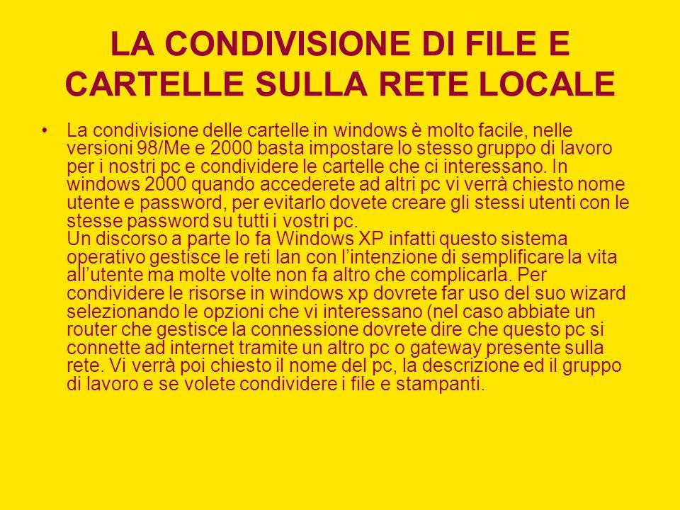 LA CONDIVISIONE DI FILE E CARTELLE SULLA RETE LOCALE