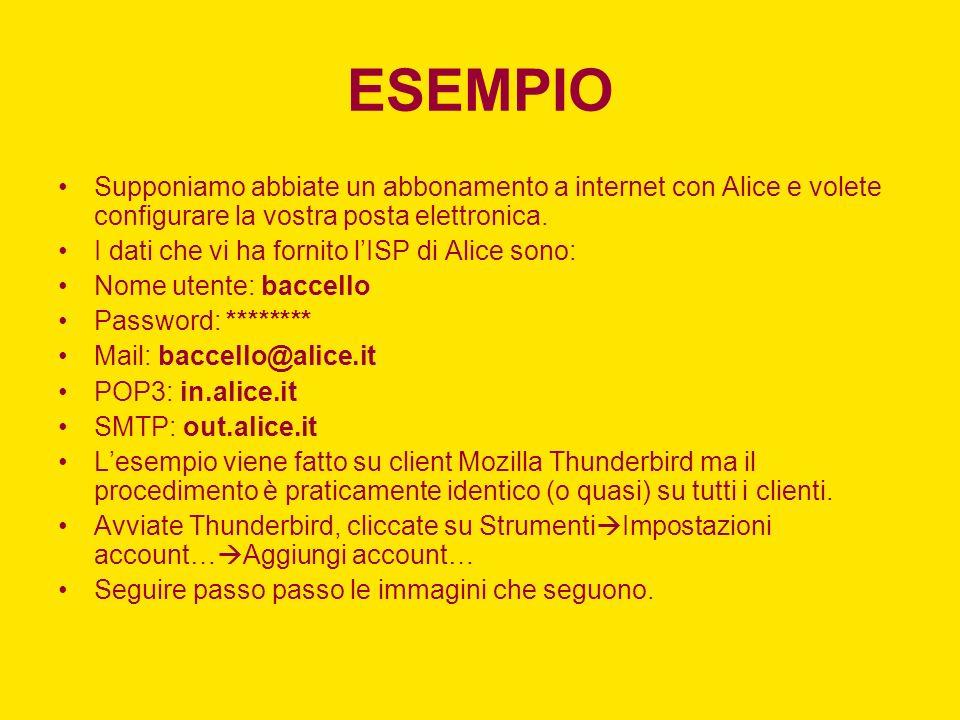 ESEMPIO Supponiamo abbiate un abbonamento a internet con Alice e volete configurare la vostra posta elettronica.
