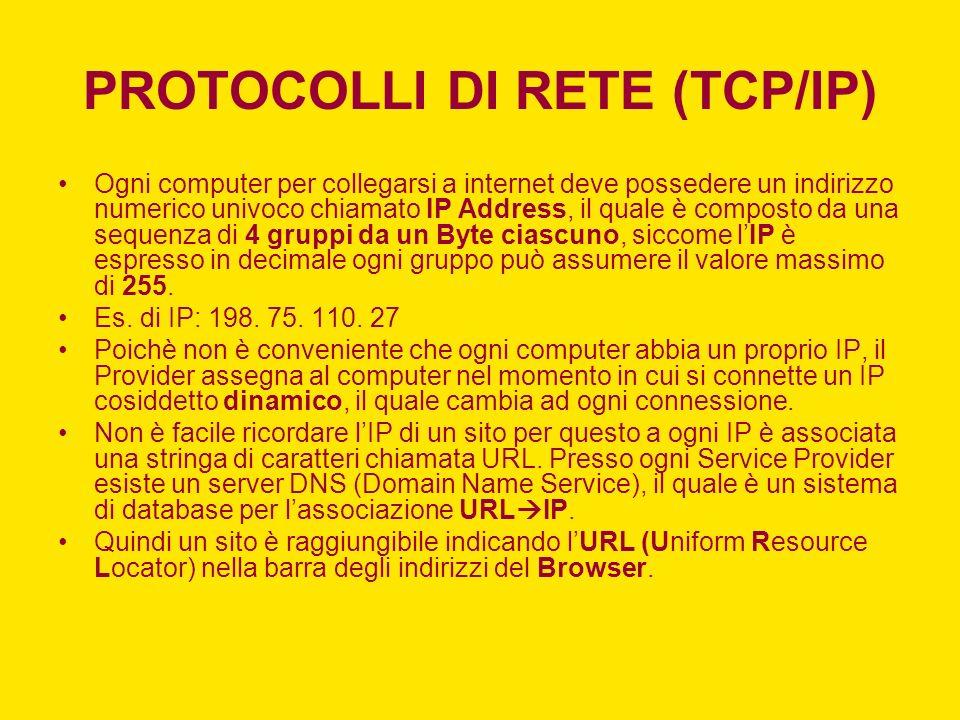 PROTOCOLLI DI RETE (TCP/IP)