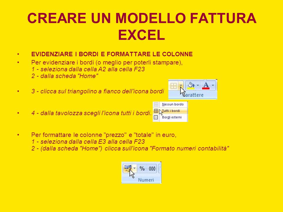 CREARE UN MODELLO FATTURA EXCEL