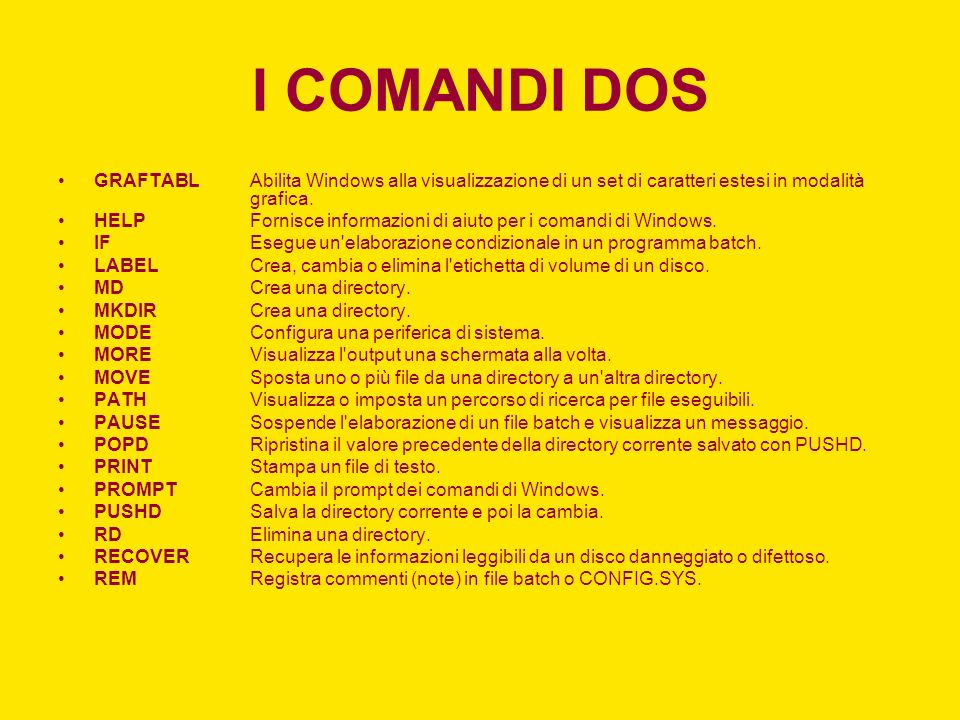 I COMANDI DOS GRAFTABL Abilita Windows alla visualizzazione di un set di caratteri estesi in modalità grafica.