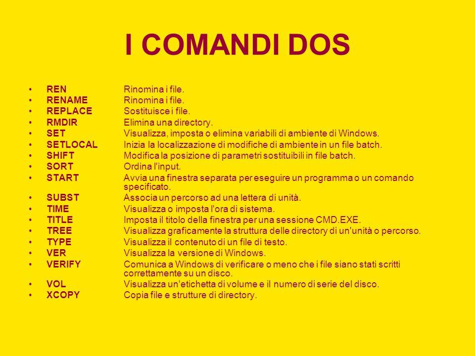 I COMANDI DOS REN Rinomina i file. RENAME Rinomina i file.