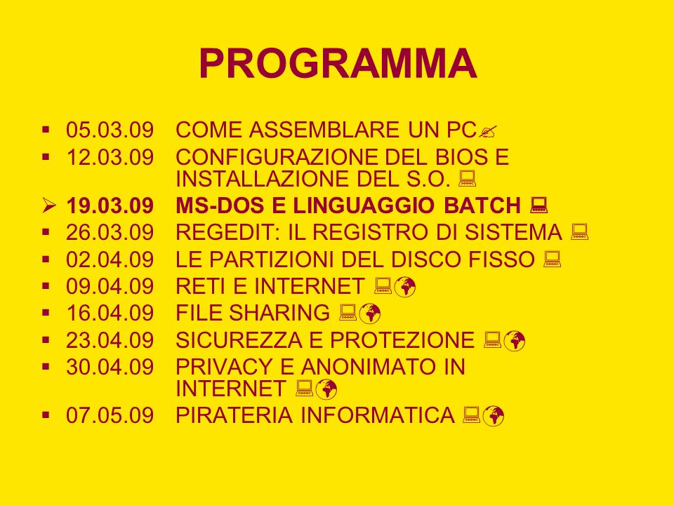 PROGRAMMA 05.03.09 COME ASSEMBLARE UN PC