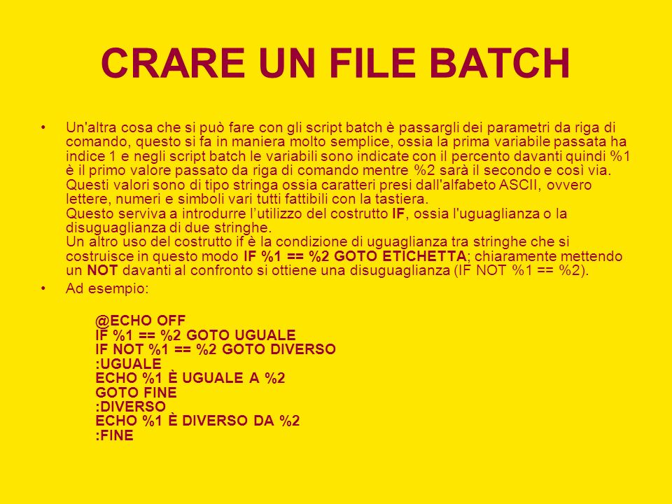 CRARE UN FILE BATCH