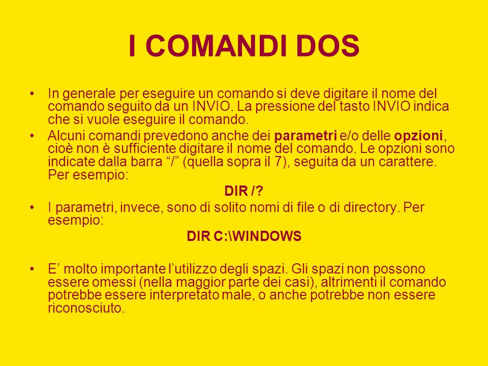 I COMANDI DOS