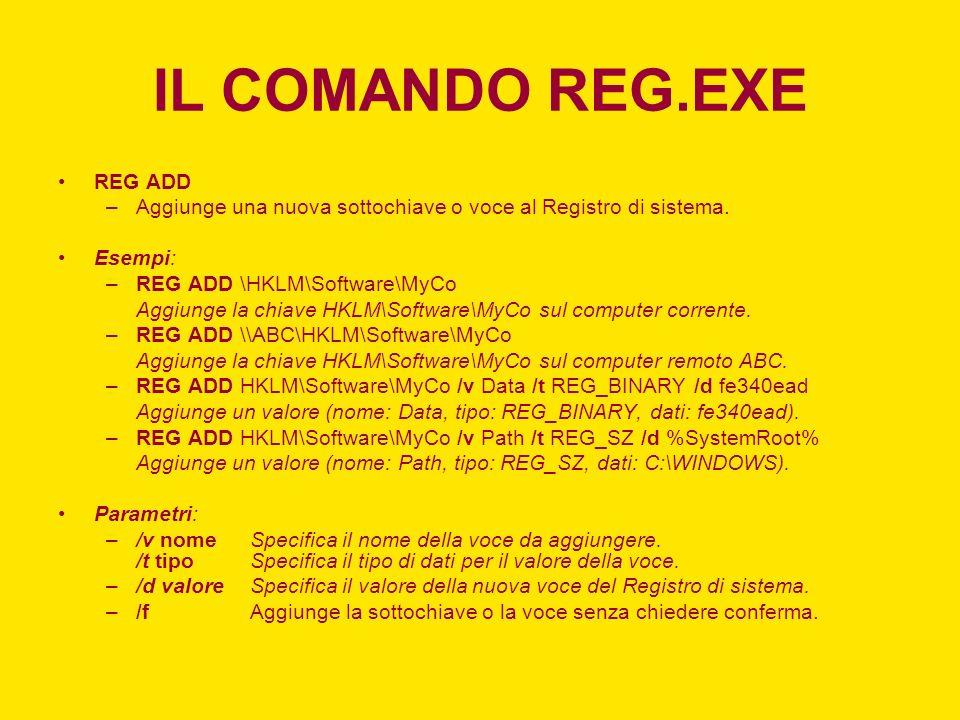 IL COMANDO REG.EXE REG ADD