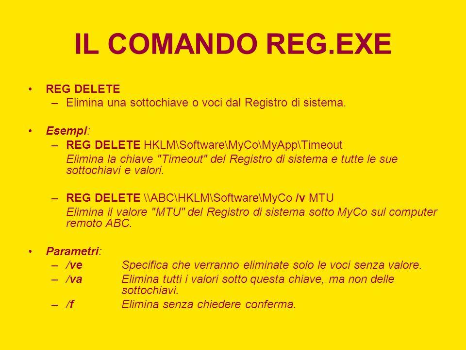 IL COMANDO REG.EXE REG DELETE