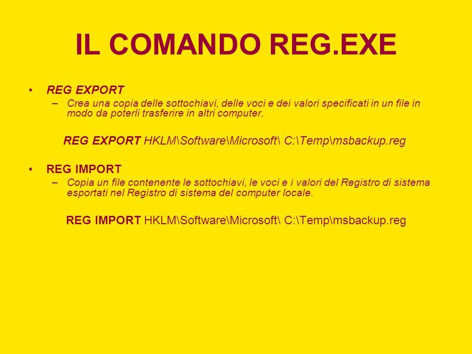IL COMANDO REG.EXE REG EXPORT
