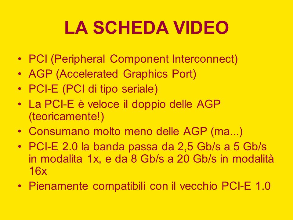 LA SCHEDA VIDEO PCI (Peripheral Component Interconnect)
