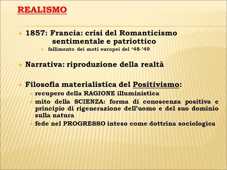 REALISMO 1857: Francia: crisi del Romanticismo sentimentale e patriottico. fallimento dei moti europei del '48-'49.