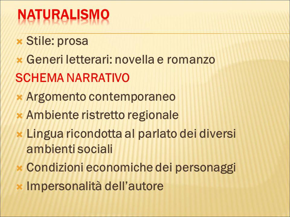 NATURALISMO Stile: prosa Generi letterari: novella e romanzo