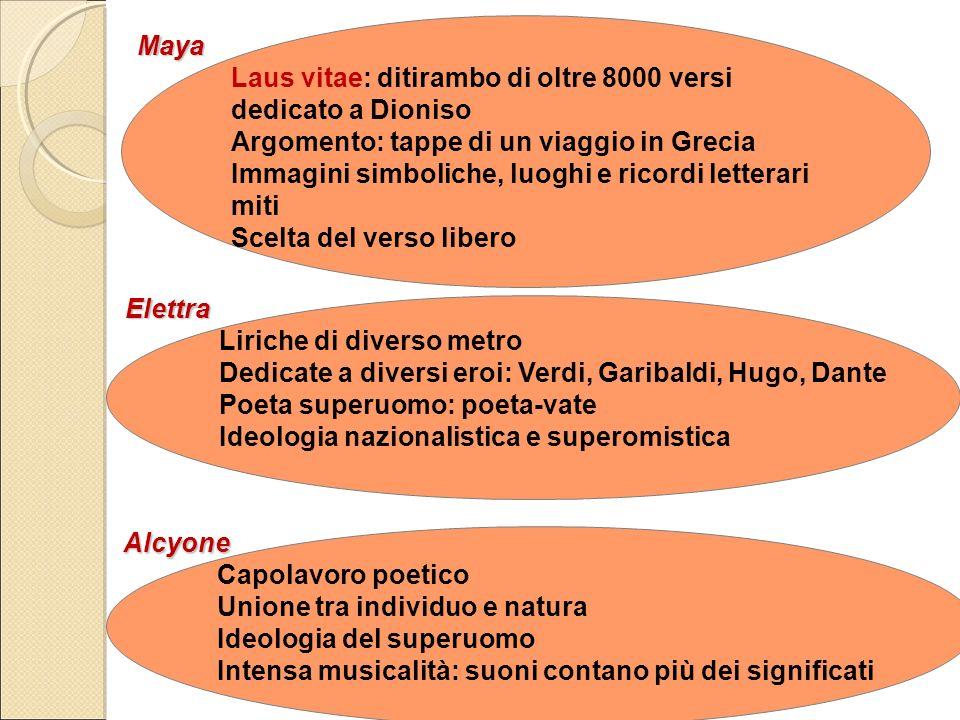 Maya Laus vitae: ditirambo di oltre 8000 versi. dedicato a Dioniso. Argomento: tappe di un viaggio in Grecia.